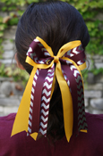 Silver Foil Chevron, Maroon, and Gold Bow Ponytail
