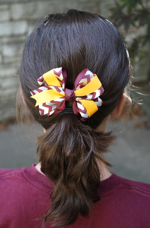 Silver Foil Chevron and Maroon Four Loop Bow Barrette (SKU 5017025823)
