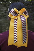 Silver Foil Chevron, Maroon, and Gold Jumbo Bow Ponytail