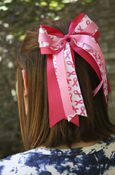 Pink Ribbon Layered Pink Bow Ponytail