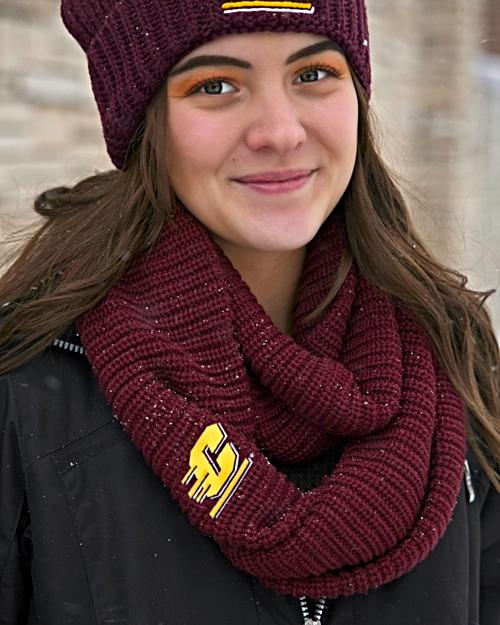 Chunky Knit Flying C Maroon Infinity Scarf