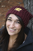 Chunky Knit Flying C Maroon Pom Hat