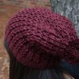 Chunky Knit Flying C Maroon Pom Hat