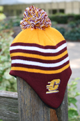 Children's Maroon, Gold, And White Striped Flying C Knit Pom Hat With Fleece Lining And Ear Flaps