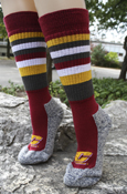 Striped Maroon, Gold, And Gray Flying C Wool Socks