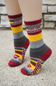 Gray, Maroon, And Gold Striped Central Michigan Chippewas Socks