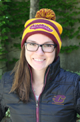 Script Chippewas Maroon And Gold Stripe Pom Hat