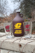 Central Michigan Flying C Growler With Two Glasses