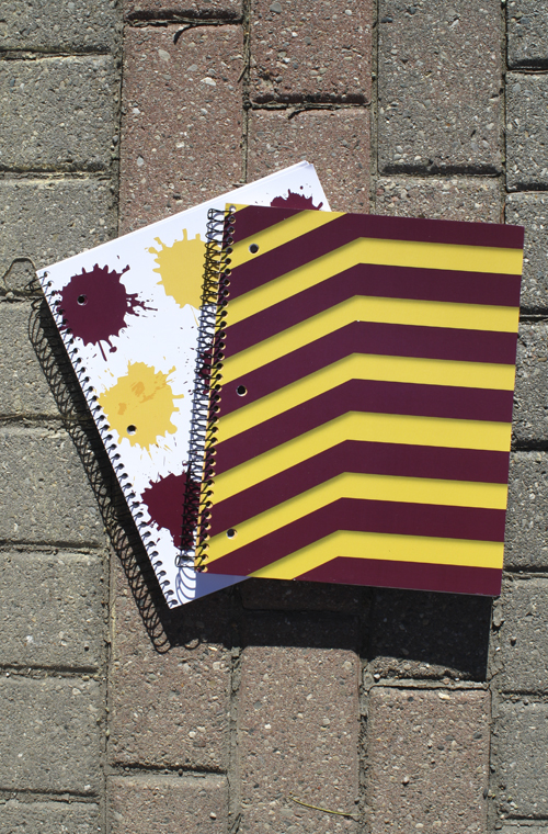 3 Subject Maroon And Gold Splatter Or Chevron Notebook (SKU 5018658773)