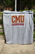 "54X84"" Block C M U Chippewas Sweatshirt Blanket - Gray"