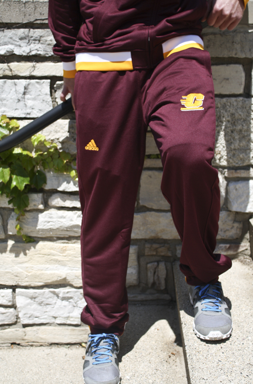 Adidas Maroon Flying C Sweatpants With Gold And White Stripe Along Hem (SKU 5019123916)