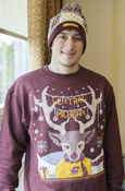 Holiday Sweater Crew - Maroon Central Michigan Reindeer Flying C