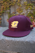 New Era 59Fifty Maroon Flying C Flat Brim Fitted Hat With C M U On Back