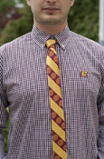 Skinny Tie - Maroon & Gold Stripes With Seals
