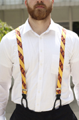 Suspenders (Button-On) - Maroon And Gold Stripes With Seals