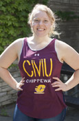 C M U Chippewas Flying C Maroon Ladies Tank With Drop Back
