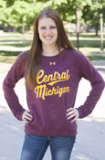 Thick Script Central Michigan Ladies Maroon Under Armour Crew