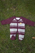 Flying C Maroon & Gray Striped Footed Romper