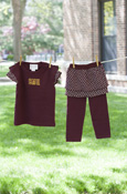 C M U Lattice Maroon Shirt & Skirt/Leggings Set