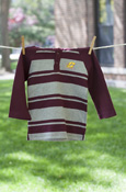 Flying C Maroon & Gray Striped Shirt With Hood