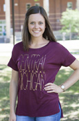 Gold Foil Tall Central Michigan Chippewas Ladies Loose Tee