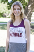 Tri-Panel Open Letters Central Michigan Ladies Tank