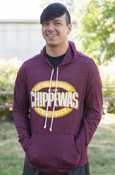 Distressed Central Michigan Oval Chippewas Maroon Hooded Long Sleeve
