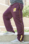 Flying C Maroon Pants With Gold Stripe And Chippewas On Pant Bottom