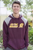 Central Michigan Flying C Gray Shoulder Maroon Hoodie With Flying C On Back
