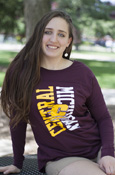 Ladies Vertical Central Michigan Flying C Long Sleeve With Slit In Back