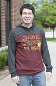 Thin Central Michigan Chippewas Flying C Two Tone Long Sleeve With Hood