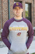 Central Michigan Shaded Chippewas Flying C Crew With Maroon Sleeves