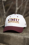 3D C M U Line Central Michigan University White Cap With Maroon Brim