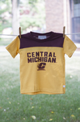 Central Michigan Flying C Maroon Color Block Gold Tee