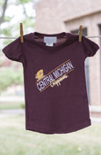 Angled Flying C Central Michigan Script Chippewas Maroon Tee