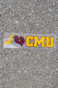 Michigan I Heart CMU Maroon & Gold Decal (Outside Application)