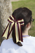 Layered Yellow And White Stripe Long Ponytail Bow