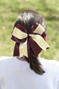 "Layered Yellow And White Stripe 3"" Ponytail Bow"