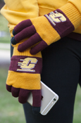 Flying C Maroon & Gold Striped Knit Texting Gloves