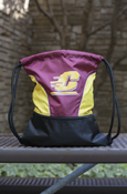Flying C Maroon & Gold Drawstring Bag With Pocket