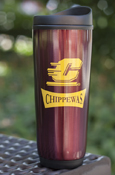 Flying C Chippewas Maroon Stainless Steel Travel Tumbler With Handle