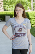 Nike Arched Central Michigan Flying C Chippewas Ladies Distressed T-Shirt