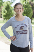 Nike Arched Central Michigan Flying C Chippewas Ladies Distressed Long Sleeve