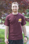 Flying C Chippewas Maroon T-Shirt With Vertical Fire Up Chips On Back
