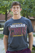 Central Michigan C M U Line Fade University Charcoal T-Shirt