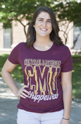 Central Michigan 3D Style C M U Script Chippewas Distressed Ladies Tee