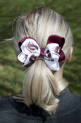 Double Bow Flying C And Maroon Barrette