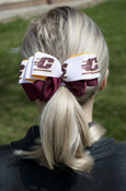 Gold, Maroon, And Flying C Loop Bow Barrette