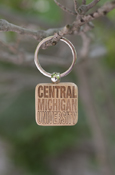 Stacked Central Michigan University Square Wood Key Chain