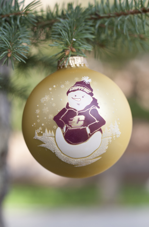 Flying C Chippewas Snowman Gold Ball Ornament (SKU 5024847629)
